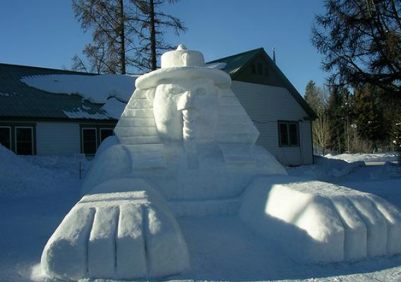 "The ""Great Smokey Sphinx,"" the largest sculpting effort by Forest Service volunteers, put the Payette National Forest on the snow sculpture scene at the McCall (Idaho) Winter Carnival snow sculpture contest. (U.S. Forest Service photo)"