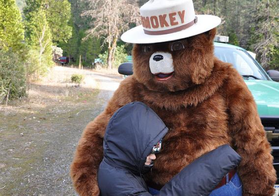 Smokey Bear receives a bear hug from a child visiting Sims Flat Campground in the Shasta Trinity National Forest in Redding, California. (Photo credit: U.S. Forest Service, Paul Young)