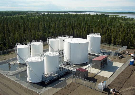 The relocated tank farm on a higher and drier site, away from the river's edge. Photo courtesy Crowley Petroleum Distribution.