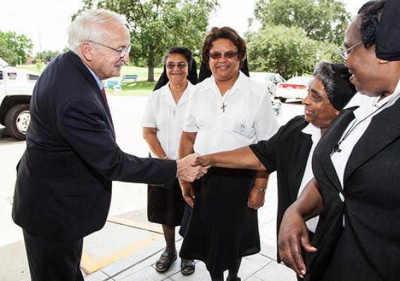 Undersecretary Kevin Concannon meets with Sisters of the Holy Family, an order of nuns based in New Orleans.
