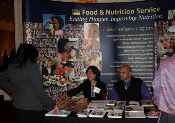 Más Hambre Summit attendees engaged in the dialogue and visited USDA's Food and Nutrition Service exhibit