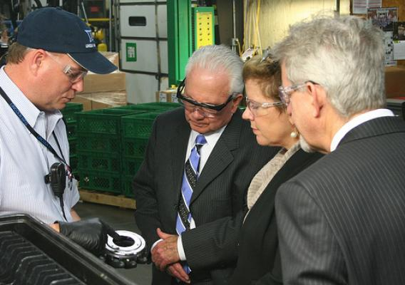 Lincoln Manufacturing USA, LLC employee, Jeff Burkett, explains product details to Kentucky State Director Tom Fern, RBS Administrator Lillian Salerno, and RBS program director in Kentucky, Jeff Jones. USDA photos.