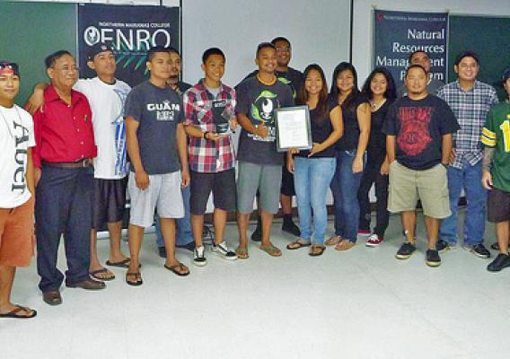 Northern Marianas College ENRO students won the 2012 NRCS Earth Team group volunteer award for their environmental work in Saipan. (NRCS photo)