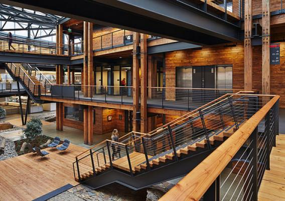 The Federal Center South in Seattle makes extensive use of wood. (Federal Center South – Building 1202; ZGA Architects; photo Benjamin Benschneider, WoodWorks 2014 Commercial Wood Design Award). Used with permission.
