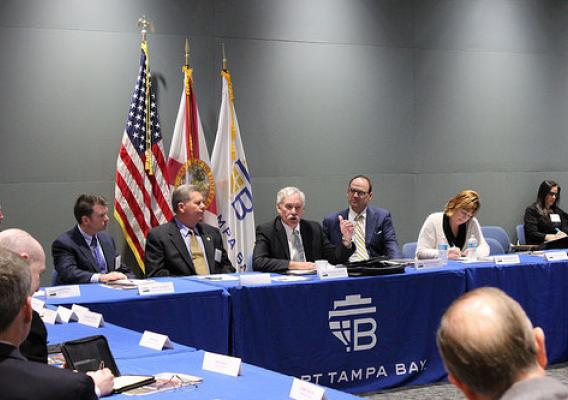 USDA Under Secretary for Farm and Foreign Agricultural Services, Michael Scuse, talks with Florida agriculture leaders at the Port of Tampa to discuss trade issues and the Trade Promotion Authority.