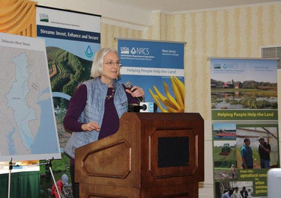 Deputy Under Secretary Ann Mills announces Farm Bill funding support to improve water quality in the Delaware River Basin. NRCS photo.