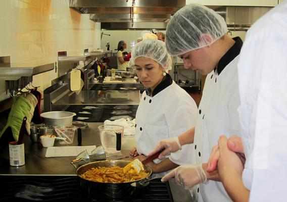Plymouth School District (Wisconsin) students compete in a Student Chef Competition.