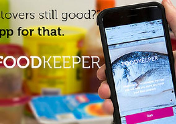 "Image of person using app in refrigerator. Text overlay reads: ""Are these leftovers still good? There's an app for that now, the FoodKeeper."""