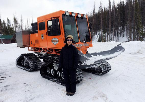 Carita Chan was excited to get to ride in a Sno-Cat for the first time. U.S. Forest Service photo.