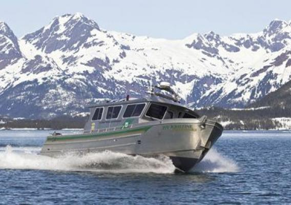 The newly commissioned PV Kristine Fairbanks patrols Alaska's Prince William Sound as part of the Forest Service's mission in the Alaska Region May 5, 2012. The boat is named for a law enforcement officer who was killed in the line of duty in 2008. Photo by Milo Burcham.