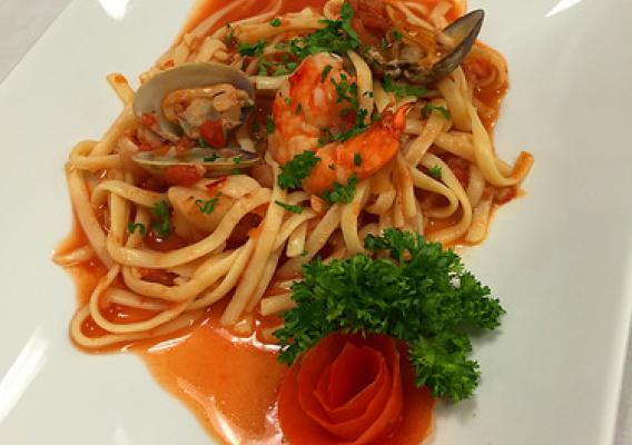 Seafood fettuccini after processing with microwave assisted pasteurization systems