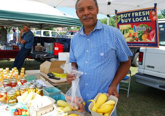 Gene Thornton with his produce at Ag Heritage Park