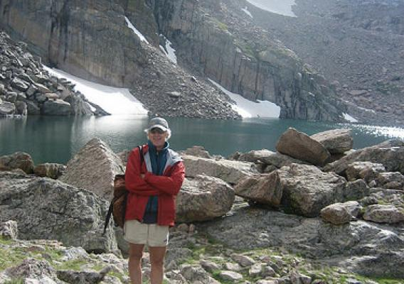 Tom Brown hiking Chasm Lake