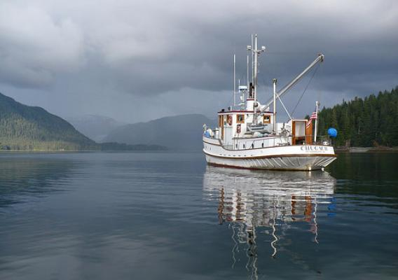 A contemporary photo of the M/V Chugach ranger boat