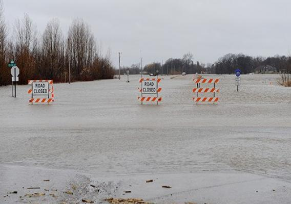 Flooded out roads in Cass County, North Dakota.
