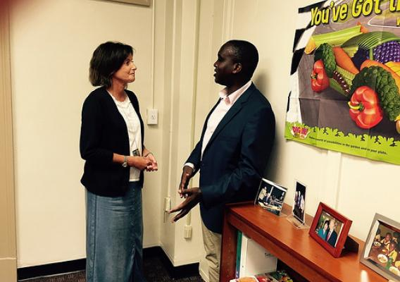 Peter Mumo of Kenya meets with Amy Harding, deputy director of the FAS Food Assistance Division