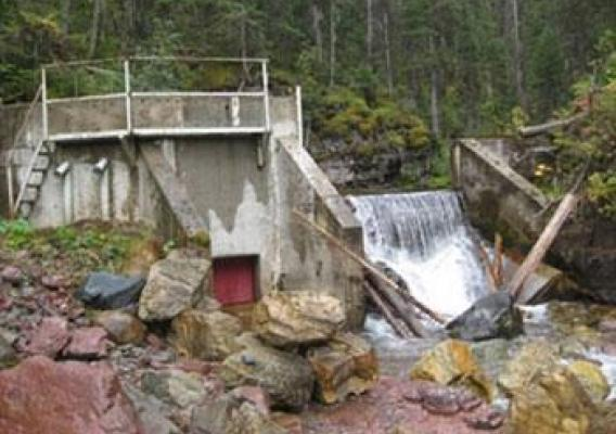 The micro-hydropower system at the Spotted Bear Ranger Station.