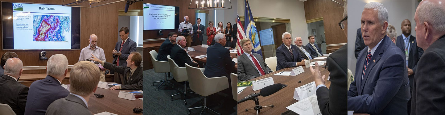 A collage of Vice President Pence and Secretary Perdue receiving a briefing about Hurricane Michael